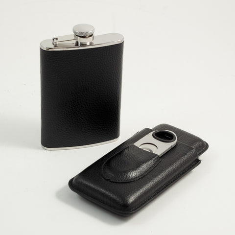 Black Flask & Cigar Set