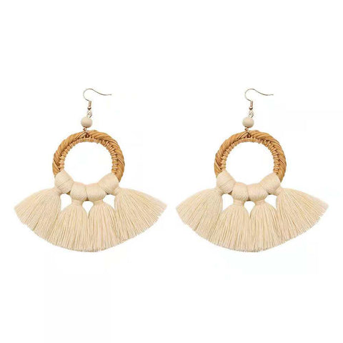 Wicker Tassel Earrings (Cream) NEW