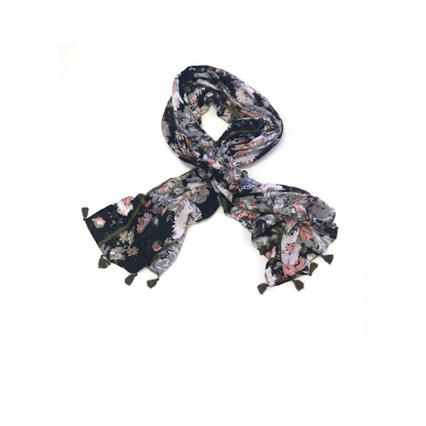 Black Botanical Scarf