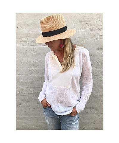 Straw Panama Hat (Dark/Navy band with side detail)