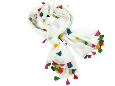 WHITE SUMMER TASSEL SCARF.  (3 LEFT)