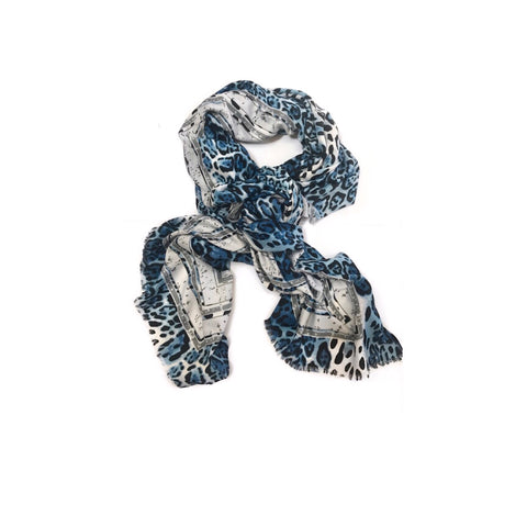 Navy/Blue toned Leopard Scarf