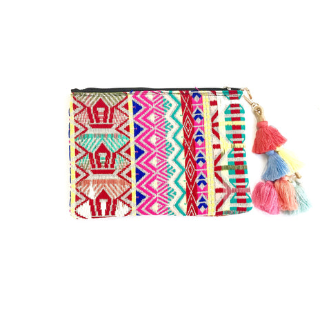 Woven Geometric Clutch (Pink/Red/Green)