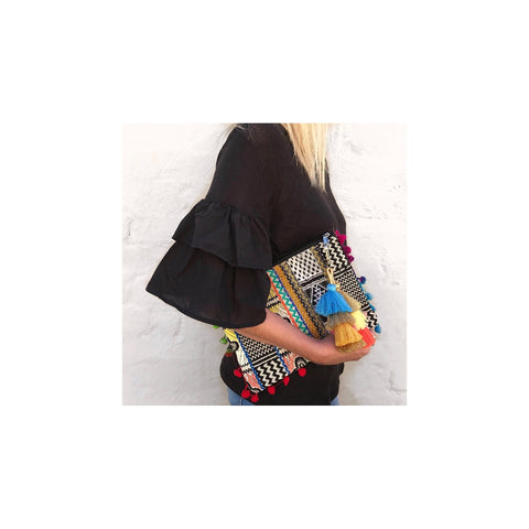 Woven Tribal Clutch (Black Geometric) ON SALE