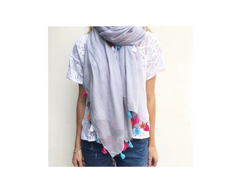 SUMMER GREY  SCARF WITH TASSELS