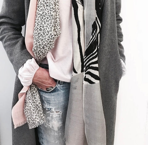 Blush/Grey Leopard Scarf