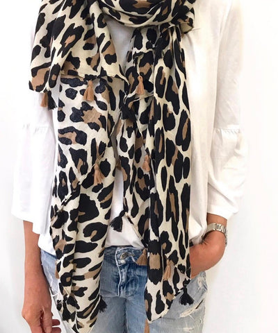 Black/Natural Leopard Scarf (NEW)