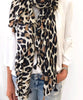Black/Natural Leopard Scarf