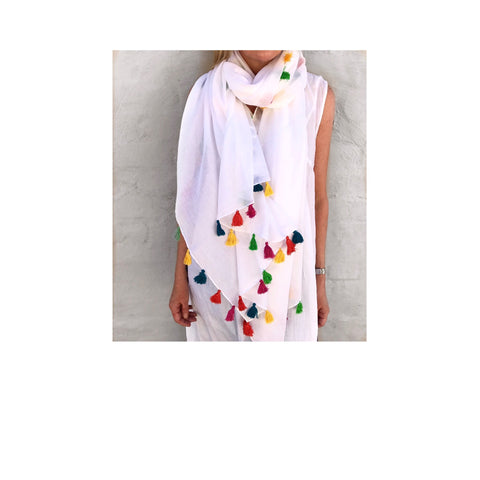 WHITE SUMMER TASSEL SCARF (Bestseller) ON SALE