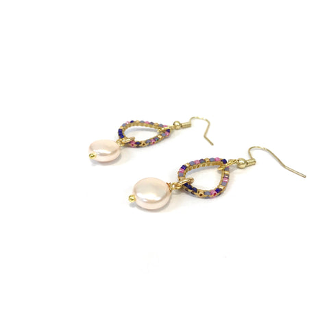 Jewelled Teardrop Earrings (Pink)