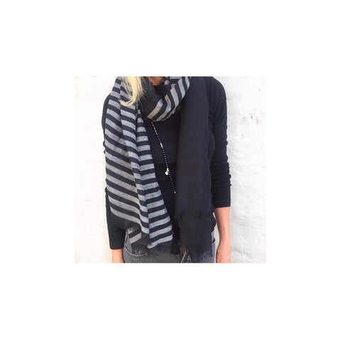 BLACK/GREY STRIPE SCARF (ON SALE)