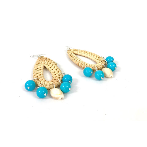Wicker and Turquoise Statement Earrings