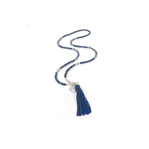 Classic Navy Tassel Necklace