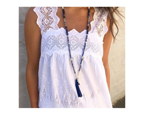 DENIM BLUE SODALITE TASSEL NECKLACE