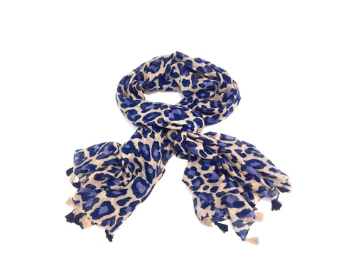 NAVY LEOPARD SCARF (NEW)