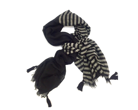 BLACK/GREY STRIPE SCARF