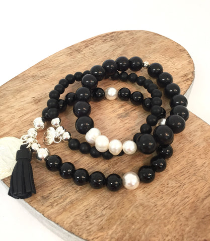 BLACK AGATE AND PEARL STACK (35% Off)