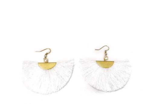 Fan Tassel Earrings (White)