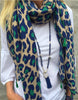 Navy/Green Leopard Scarf (On Sale)