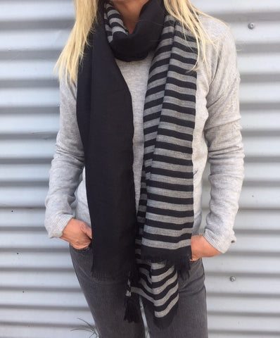 BLACK/GREY STRIPE SCARF (NEW)