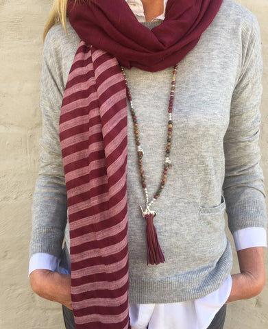 BERRY STRIPE SCARF (NEW)