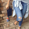DENIM CLUTCH (MULTICOLORED TASSEL KEYCHAIN)