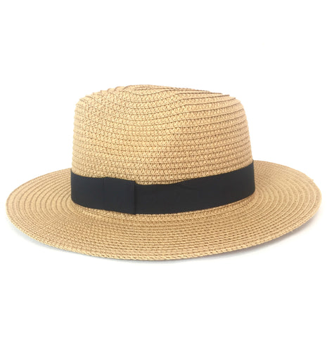 STRAW PANAMA HAT (DARK/NAVY BAND)