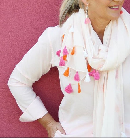 Blush Summer Tassel Scarf