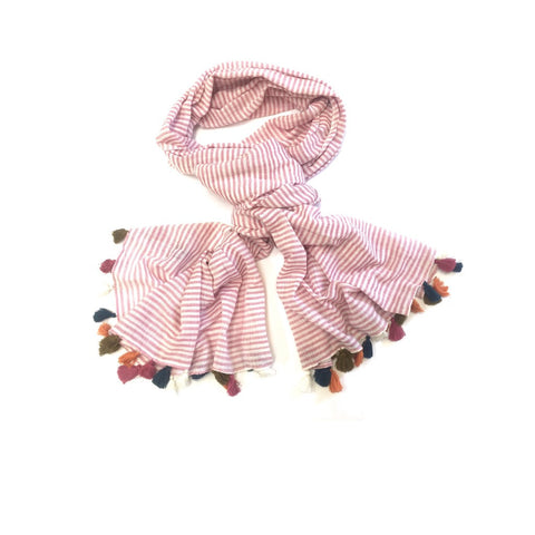 SALE - RASPBERRY STRIPE TASSEL SCARF