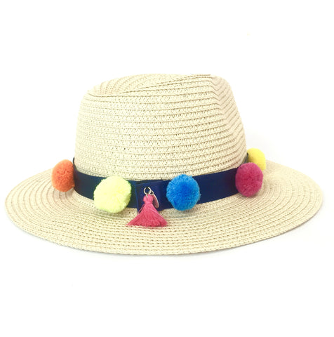 STRAW PANAMA HAT (LIGHT/NAVY BAND)
