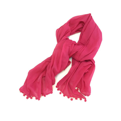SALE - HOT PINK POMPOM SCARF