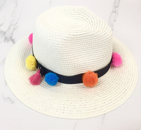 STRAW PANAMA HAT (WHITE/BLACK BAND)