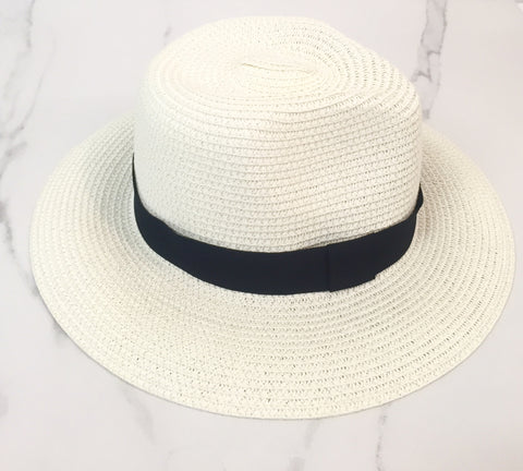 STRAW PANAMA HAT (WHITE/NAVY BAND)