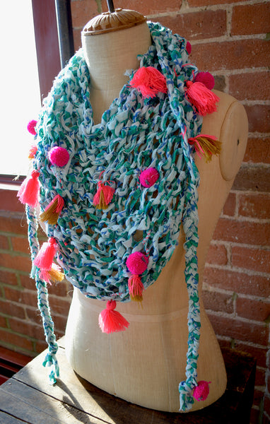 Updated Fishnet Bandana Cowl Pattern Knit Collage