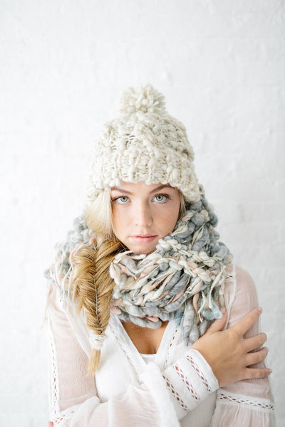 Knit Collage Snow Bunny Cable Beanie Hat