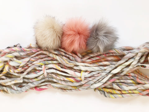 Knit Collage Pom poms wanderlust yarn