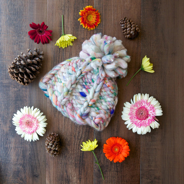 Take A Chance Hat Knit Collage - Chunky Yarn Knitting pattern handspun