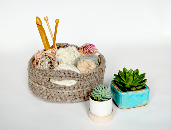 Chunky Crocheted Baskets Knit Collage