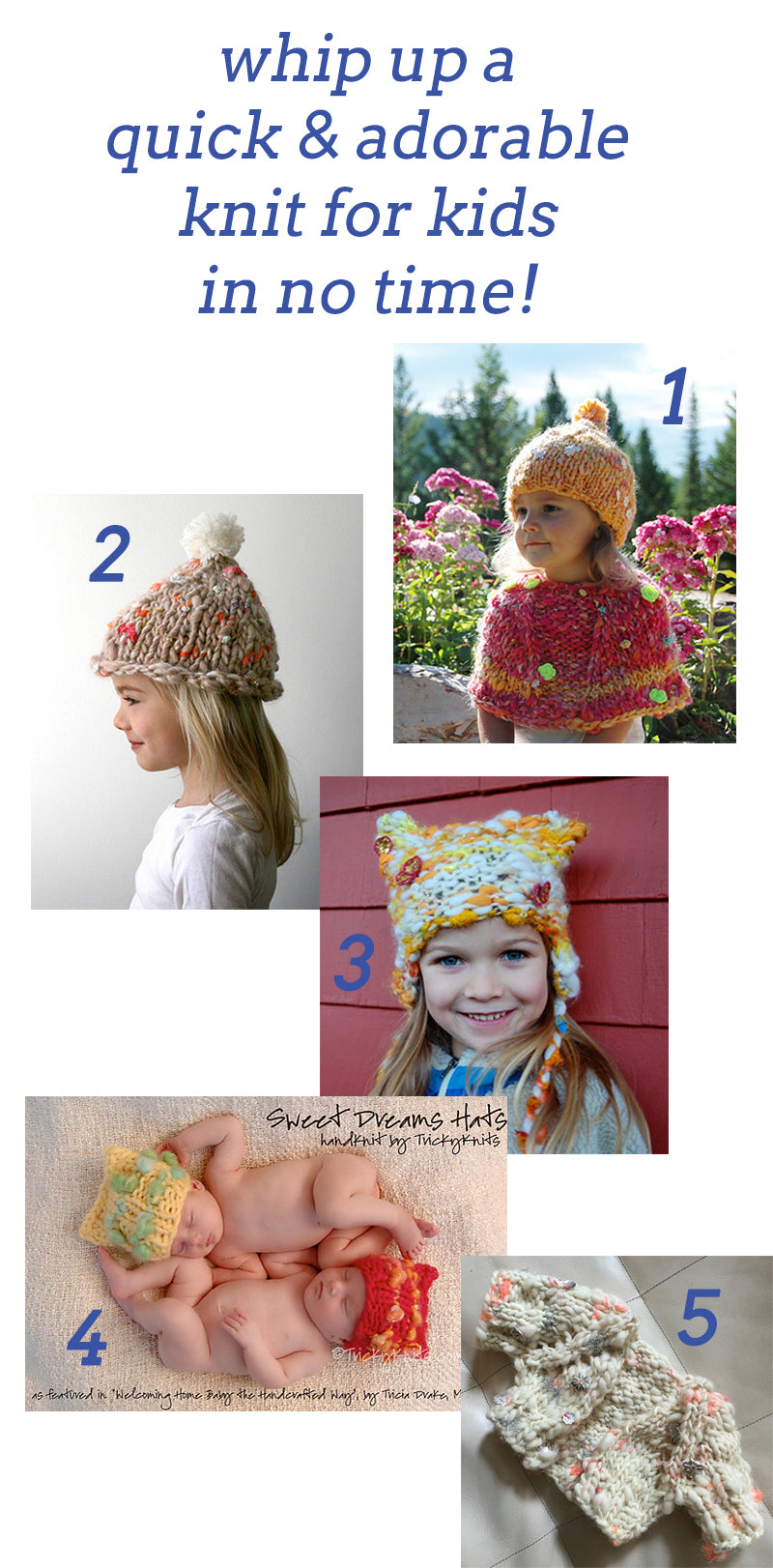 Knit Collage Quick Knit Ideas and Projects for kids