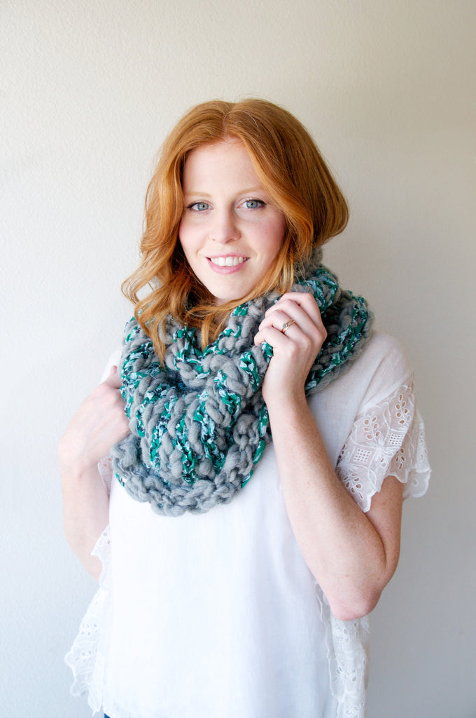 Stripe Story Cowl Pattern Knit Collage