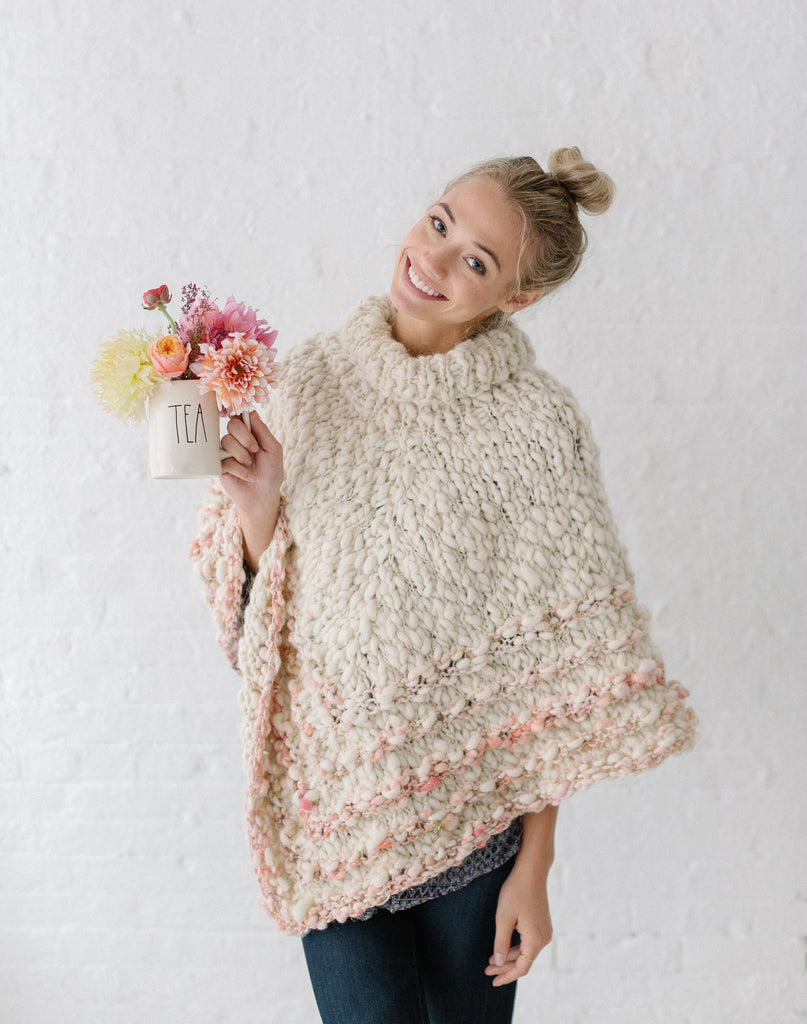 Knit Collage Rustic Handspun Poncho Knitting Pattern