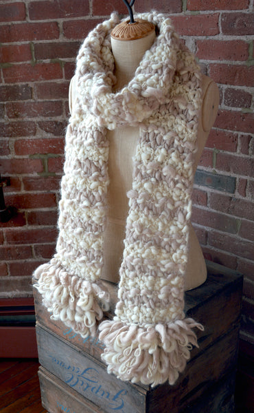 Loopy Fringe Scarf Knit Collage