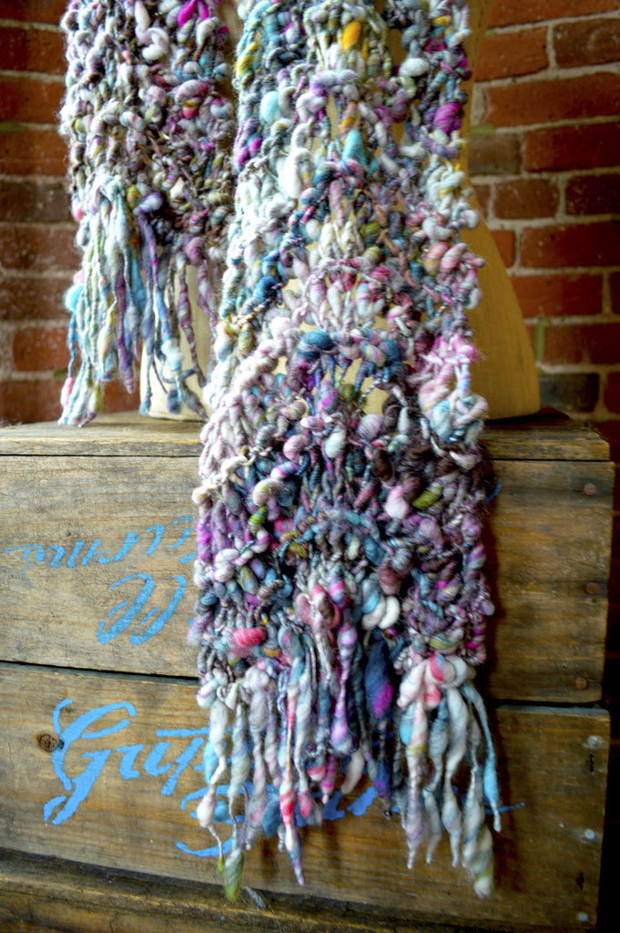 Wavy Feather Scarf Pattern Knit Collage