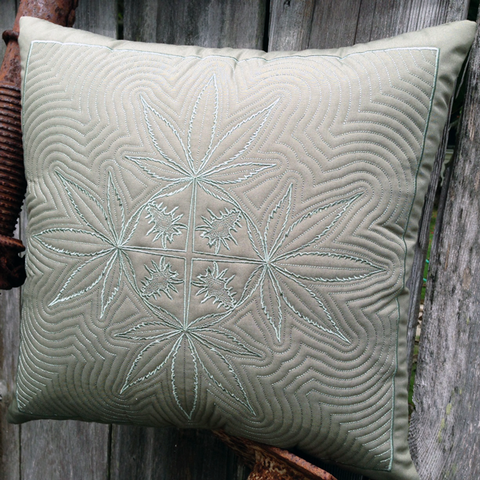 Cannabis Hawaiian Quilted Pillow
