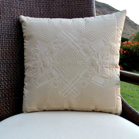 Lotus Hawaiian Quilted Pillow