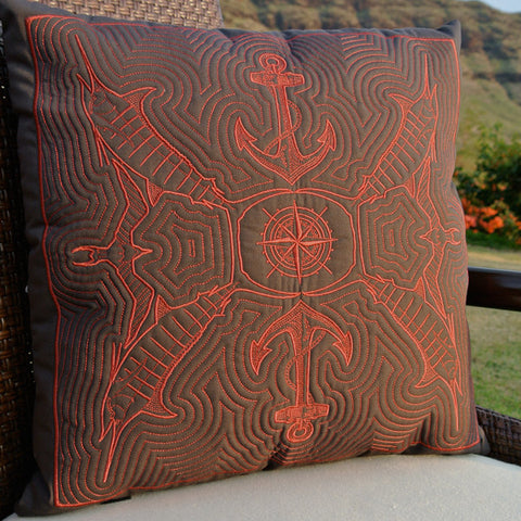 Marlin Hawaiian Quilted Pillow
