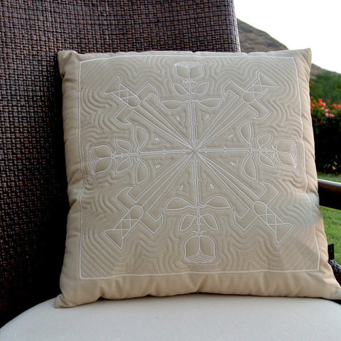 Rosa Hawaiian Quilted Pillow