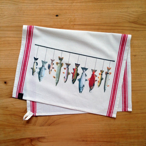 King Fish Striped Vintage Kitchen Towel