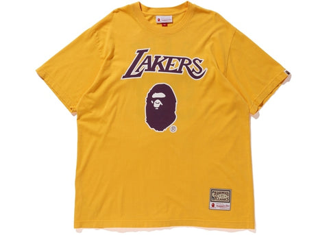 Bape Michell & Ness Lakers Yellow T-Shirt Sz. S