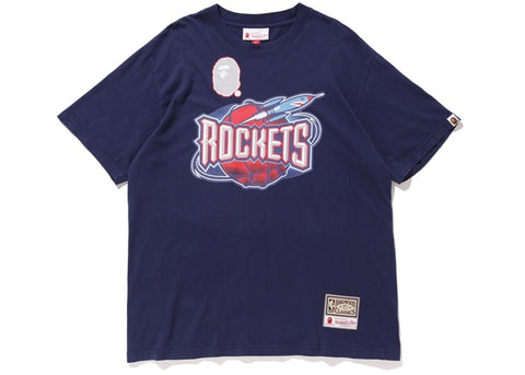Bape Mitchell & Ness Rockets Blue T-Shirt Sz. S